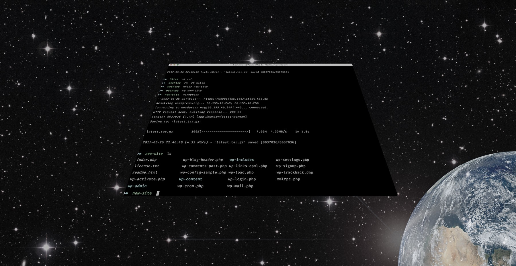 Mac terminal floating in space - Start Wars style.