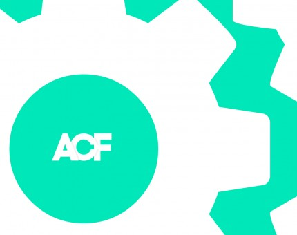 ACF logo surrounded by gears.