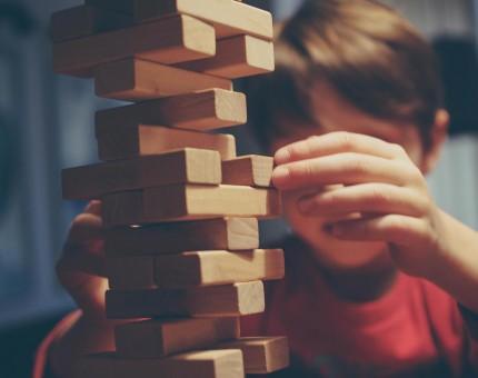 Child playing Jenga